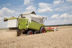 Combine harvester on a wheat field Royalty Free Stock Photos