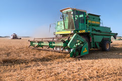 Combine harvester at the wheat field Royalty Free Stock Photo