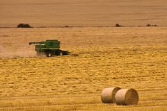 Combine Harvester in a Wheat Field. An image of a green combine harvester working in a wheat field stock photo