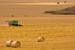Combine Harvester in a Wheat Field. An image of a green combine harvester working in a wheat field stock photos