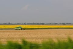 Combine harvester at work on field Stock Photo