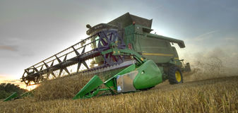 Combine harvester at work as hdr image Royalty Free Stock Photo