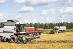 Combine harvester at work in summer Stock Images