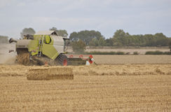 Combine harvester working the field Royalty Free Stock Image