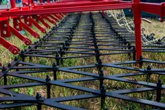 The combine harvesters photographed by a close up stock photos