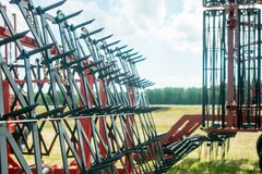 The combine harvesters photographed by a close up stock images