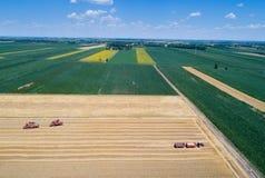 Combine harvesters working in golden wheat field Stock Photos