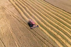 Combine Harvesting a Fall Corn Field. Aerial Stock Images