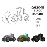 Combine harvesting .Green tractor with large wheels. Agricultural equipment for farmers.Agricultural Machinery single. Icon in cartoon style vector symbol stock Royalty Free Stock Photography
