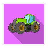 Combine harvesting .Green tractor with large wheels. Agricultural equipment for farmers.Agricultural Machinery single. Icon in flat style vector symbol stock Stock Image