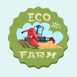 Combine Harvesting Wheat Crop In Field Eco Farm Logo. Flat Vector Illustration Royalty Free Stock Photography