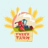 Combine Harvesting Wheat Crop In Field Eco Fresh Farm Logo. Flat Vector Illustration Royalty Free Stock Photo