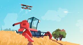 Combine Harvesting Wheat Crop In Field. Flat Vector Illustration Stock Photo