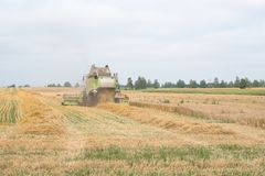 The combine is harvesting a wheat field in autumn. The combine is harvesting a wheat field in autumn Royalty Free Stock Images