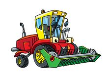 Combine or lawn mower with eyes. Combine harvester or lawn mower. Small funny vector cute car with eyes and mouth. Children vector illustration. Agricultural Royalty Free Stock Photo