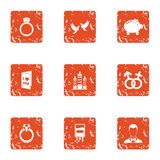 Combine love icons set, grunge style. Combine love icons set. Grunge set of 9 combine love vector icons for web isolated on white background Stock Image