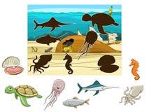 Combine os animais e os peixes a suas sombras ilustração do vetor