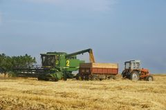 Combine and tractor. On harvest wheat field Stock Images