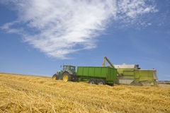 Combine and tractor in barley field Royalty Free Stock Image