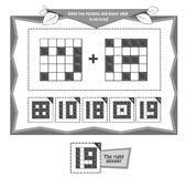 Combine the two pictures  black. Educational game black and white for kids and adults development of logic, iq. Task game  unite two pictures and guess what is Stock Images