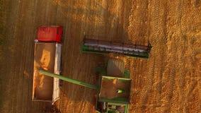 Combine unloads grain in truck. stock video