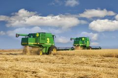 Combine on wheat field. Two combines on wheat field Stock Photos