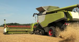 Combine Working In The Field. Take Off The Waste Of The Harvest From The Back Of The Combine During The Harvest. Prores. Slow Motion, 4k stock video footage