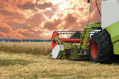 Combine working on a wheat field Royalty Free Stock Image