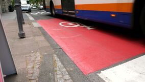 Combined bus and bicycle lane and road users
