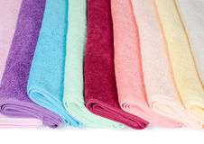 The combined  color towels Stock Image