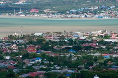 Palu view after tsunami, earthquake and liquefaction view stock photo