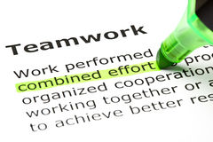 Combined effort highlighted, under Teamwork Royalty Free Stock Image