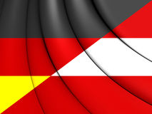 Combined Flag of Austria and Germany. Royalty Free Stock Images