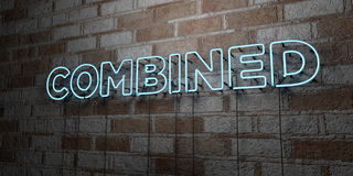 COMBINED - Glowing Neon Sign on stonework wall - 3D rendered royalty free stock illustration Royalty Free Stock Photography