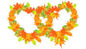 Combined hearts of autumn leaves Royalty Free Stock Photography