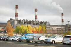Combined heat and power in the city of Apatity. Russia Stock Photo