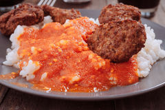 Combined home plate, tomato rice and meat balls Royalty Free Stock Photography