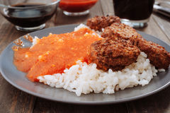 Combined home plate, tomato rice and meat balls Royalty Free Stock Images