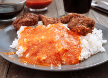 Combined home plate, tomato rice and meat balls Stock Photography