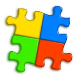 Combined multi-color puzzle Stock Photos