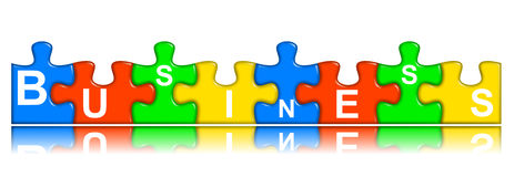 Combined multi-color puzzle - business concept Stock Photo