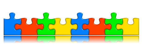 Combined multi-color puzzle pieces with reflection Royalty Free Stock Image