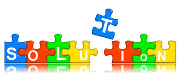 Combined multi-color puzzle - solution concept Royalty Free Stock Images