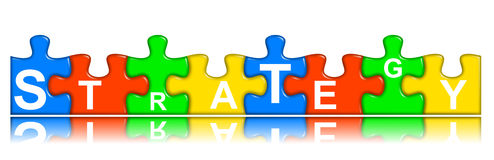 Combined multi-color puzzle - strategy concept Stock Photography
