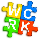 Combined multi-color puzzle - work concept Royalty Free Stock Image