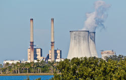 Combined Oil Fired and Nuclear Plants Stock Images