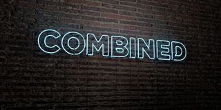 COMBINED -Realistic Neon Sign on Brick Wall background - 3D rendered royalty free stock image Stock Photos