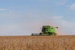 Combined soybean harvest Royalty Free Stock Photo