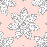 Combined succulents in gray outline and white plan on pastel pin Royalty Free Stock Image