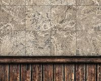 Combined wall covered with tiles and wooden Stock Images